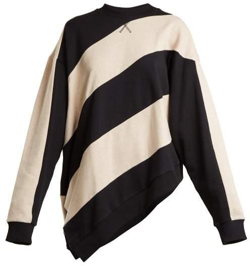 MARQUES'ALMEIDA Asymmetric-hem striped cotton sweatshirt