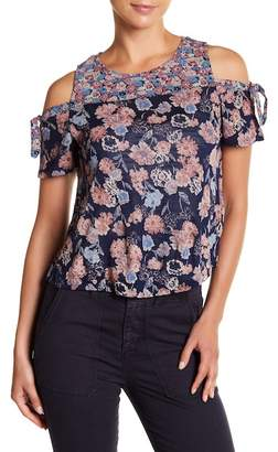 Lucky Brand Floral Tie Cold Shoulder Blouse