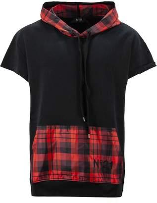 N°21 N.21 Black Cotton Plaid Panel Sweatshirt.