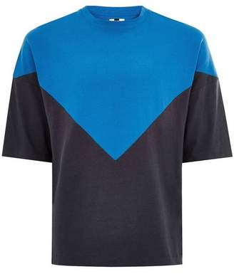 Topman Mens Blue Chevron Panelled T-Shirt