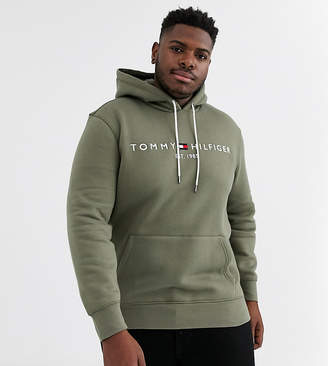 Tommy Hilfiger Big & Tall classic chest logo hoodie in olive
