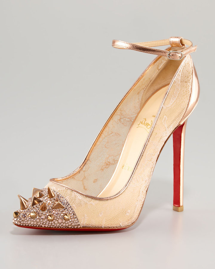 Christian Louboutin Picks & Co Potpourri Spiked Toe & Lace Red Sole Pump