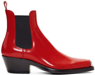 Calvin Klein Red Western Chris Crosta Chelsea Boots
