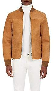 Officine Generale MEN'S IAN FAUX SHEARLING-LINED SUEDE BOMBER JACKET-CAMEL SIZE M