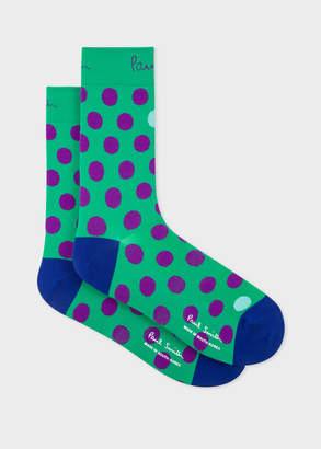 Paul Smith Mens Green Polka Dot Cycling Socks