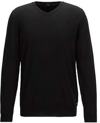 HUGO BOSS V-neck sweater in fine Italian cotton