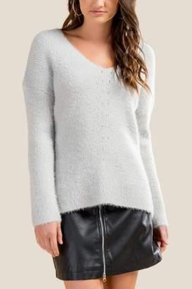 francesca's Kris Pointelle Cozy Sweater - Heather Gray