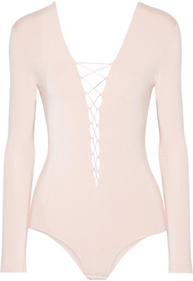 T by Alexander Wang - Lace-up Stretch-modal Jersey Bodysuit - Blush $160 thestylecure.com