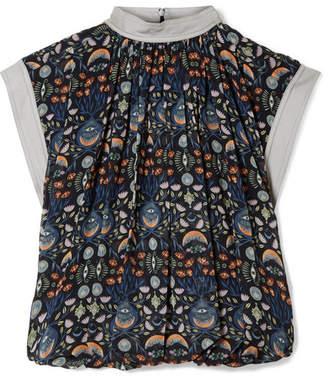 Chloé Grosgrain-trimmed Printed Georgette Top - Blue