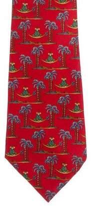 Salvatore Ferragamo Silk Palm Tree Print Tie