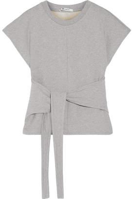 Alexander Wang Tie-front Cotton-jersey Top - Gray