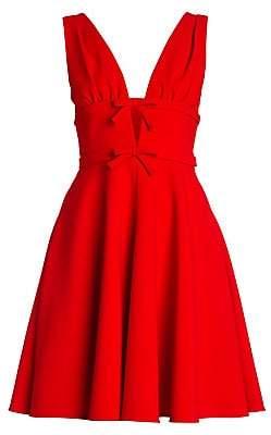 Miu Miu Women's Bow-Trimmed Flare Cady Dress