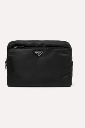Prada Appliquéd Leather-trimmed Nylon Cosmetics Case - Black
