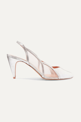 REJINA PYO Alison Metallic Leather And Mesh Slingback Pumps - Silver