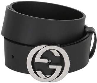 Gucci 37mm Interlocking G Buckle Leather Belt