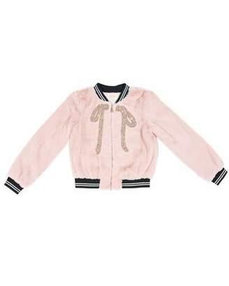 Hannah Banana Faux-Fur Bomber Jacket w/ Crystal Bow Applique, Size 4-6X
