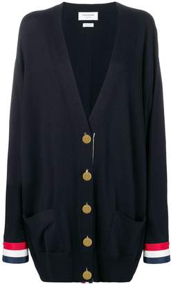 Thom Browne Rwb Cuff Oversized Merino Cardigan