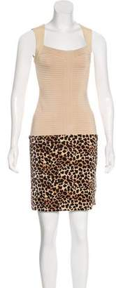 Jitrois Leather-Accented Bandage Dress