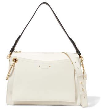 Chloé Roy Medium Leather And Suede Shoulder Bag - Cream