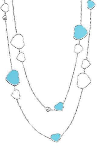 Chopard Chopard Happy Hearts 18k White Gold Turquoise & Diamond Long Station Necklace