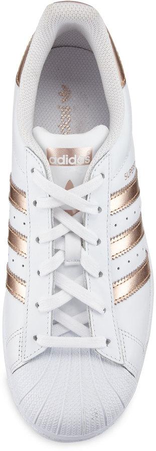 Adidas Superstar Original Fashion Sneaker, White/Rose Gold 3