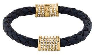 Pre Owned At Therealreal Michael Kors Braided Leather Crystal Bracelet