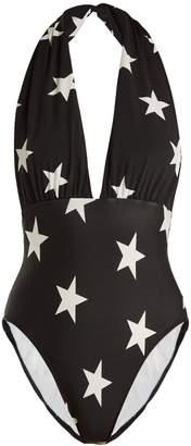 Norma Kamali Star-print halterneck swimsuit