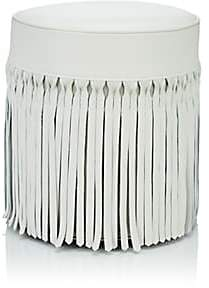 V Rugs & Home Fringed Leather & Cotton Ottoman - Ivorybone