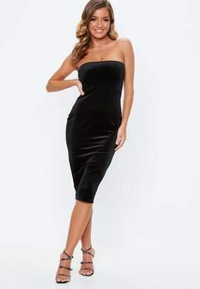 Missguided Black Velvet Strapless Midi Dress