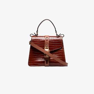 Chloé brown aby croc-embossed leather shoulder bag