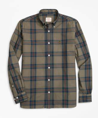 Brooks Brothers Plaid Garment-Dyed Cotton Sport Shirt