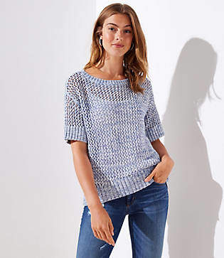 LOFT Petite Open Stitch Short Sleeve Sweater