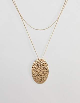 Pilgrim gold plated hammered disc necklace