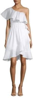 Saks Fifth Avenue BLACK One-Shoulder Ruffle Dress