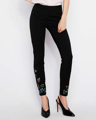 Express Mid Rise Floral Embroidered Stretch Ankle Leggings