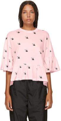 McQ Pink Swallow Loose Ruffled T-Shirt