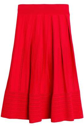 Maje Pleated Pointelle-Knit Skirt
