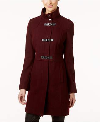 Kenneth Cole Faux-Leather-Trim Buckle-Front Walker Coat $325 thestylecure.com