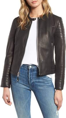 Schott NYC Quilted Lambskin Leather Moto Jacket
