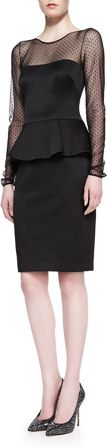 David Meister Long-Sleeve Peplum Cocktail Dress