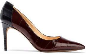 Alexandre Birman Two-Tone Glossed-Leather Pumps