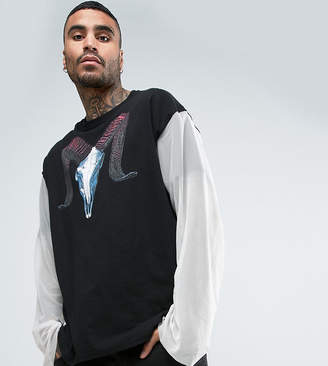 Reclaimed Vintage Inspired Oversized Long Sleeve T-Shirt With Ram Print