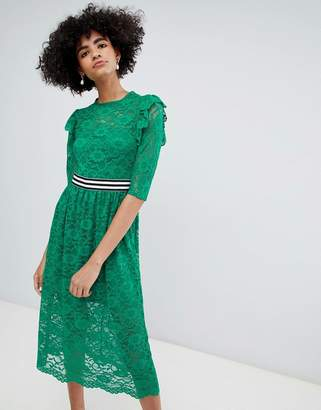 Asos DESIGN Midi Lace Tea Dress with Sports Tipping