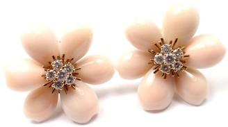 Rose de Noel 18K Yellow Gold Diamond Angel Skin Coral Earrings
