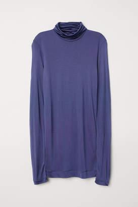 H&M Silk-blend Turtleneck Top - Blue