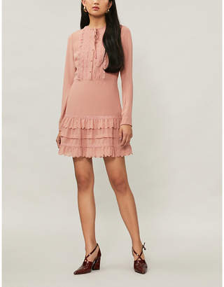 RED Valentino Tiered crepe and lace mini dress