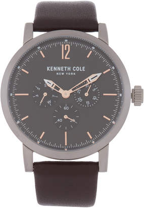 Kenneth Cole New York KC50395002 Silver-Tone & Brown Watch