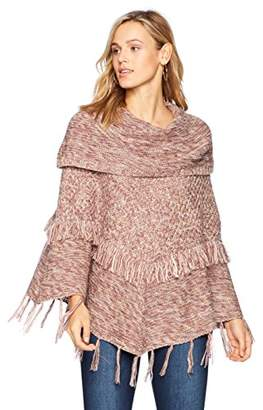 Ella Moon Women's Frieda Fringe Poncho Sweater