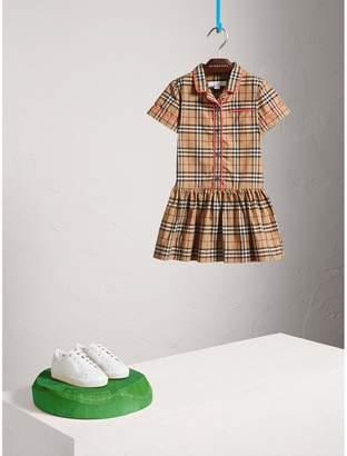 Burberry Piping Detail Check Cotton Shirt Dress