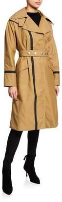 Belstaff Barnton Long Contrast-Trim Trench Coat
